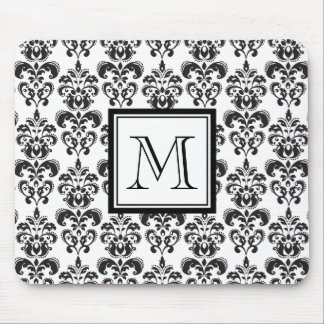 Black Damask Pattern 2 with Your Monogram Mouse Pad