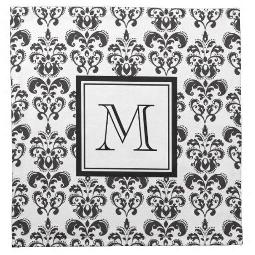 Black Damask Pattern 2 with Your Monogram Printed Napkin