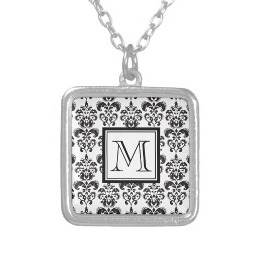 Black Damask Pattern 2 with Your Monogram Necklace