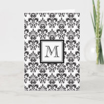Black Damask Pattern 2 with Your Monogram Note Card