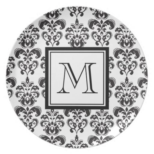 Black Damask Pattern 2 with Your Monogram Party Plate
