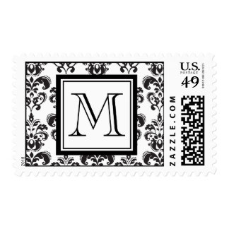 Black Damask Pattern 2 with Your Monogram Postage