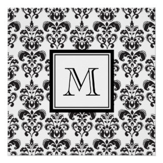 Black Damask Pattern 2 with Your Monogram Poster