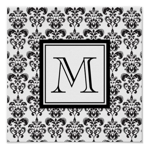 Black Damask Pattern 2 with Your Monogram Print