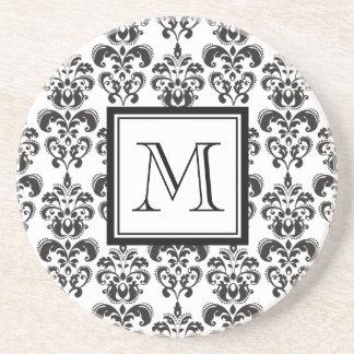 Black Damask Pattern 2 with Your Monogram Sandstone Coaster