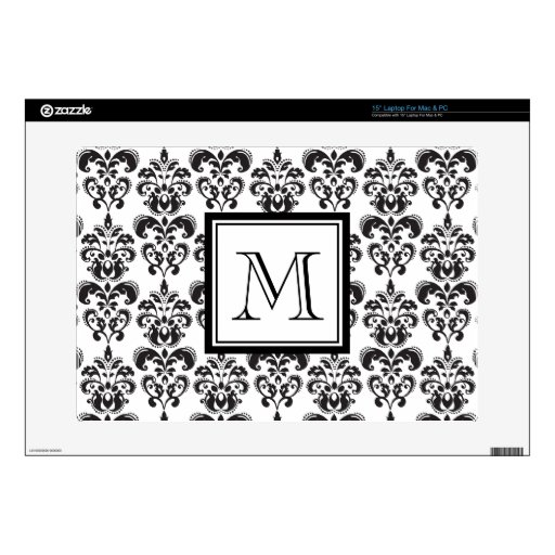 """Black Damask Pattern 2 with Your Monogram 15"""" Laptop Decal"""