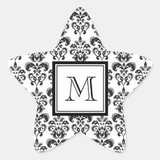 Black Damask Pattern 2 with Your Monogram Star Sticker