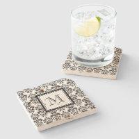Black Damask Pattern 2 with Your Monogram Stone Coaster