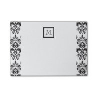 Black Damask Pattern 2 with Your Monogram Post-it® Notes