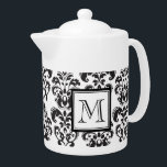 """Black Damask Pattern 2 with Your Monogram Teapot<br><div class=""""desc"""">Black and White Vintage Damask Pattern 2 with Your Monogram,  initial,  name or text. A cute,  fun,  stylish design makes a perfect gift for her. Girly damask with swirls and dots.</div>"""