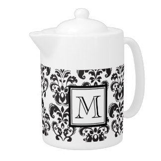 Black Damask Pattern 2 with Your Monogram Teapot