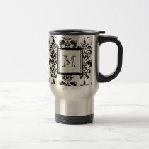 Black Damask Pattern 2 with Your Monogram Travel Mug