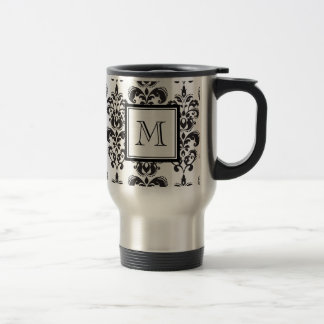 Black Damask Pattern 2 with Your Monogram Travel Mug