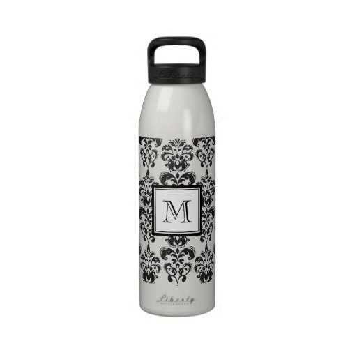 Black Damask Pattern 2 with Your Monogram Reusable Water Bottle