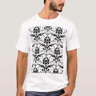Black Damask Pattern Basic T-Shirt