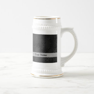 Black damask pattern beer stein