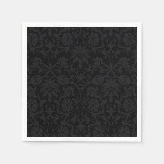 Black Damask Pattern Floral Napkins Disposable Napkins