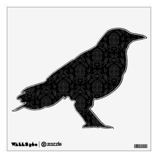 Black Damask Pattern Halloween Crow Wall Sticker