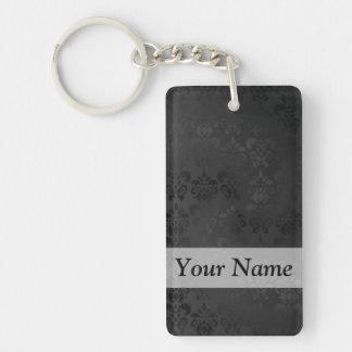 Black damask pattern Double-Sided rectangular acrylic keychain