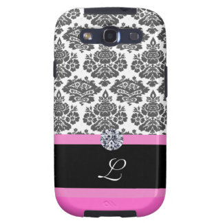 black  damask pattern,monogram, diamond samsung galaxy s3 cover