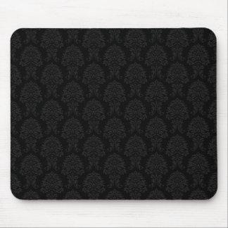 Black Damask Pattern Mouse Pad