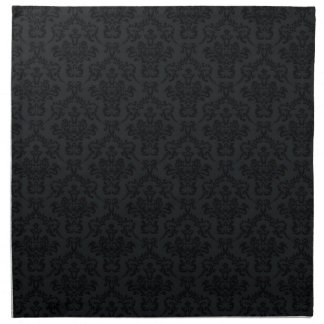 Black Damask Pattern Napkin