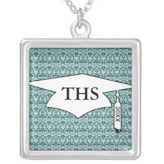 black damask pattern on pretty blue graduation square pendant necklace