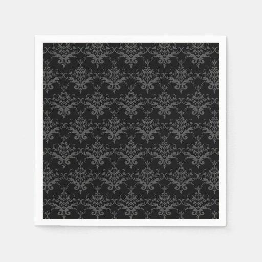 Black damask pattern paper napkins