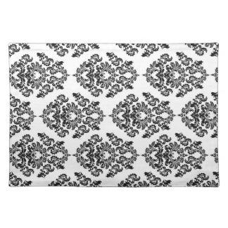 Black Damask Pattern Placemat Cloth Placemat