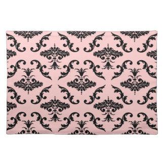 Black Damask Pattern Cloth Place Mat