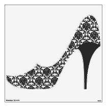 Black Damask Pattern Stiletto Heel Wall Sticker