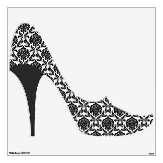 Black Damask Pattern Stiletto Heel Room Sticker