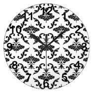 Black Damask Pattern Wall Clocks