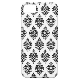 BLACK DAMASK PATTERN,WHITE iPHONE 5 CASE