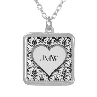 Black Damask Pattern with Heart Custom Monogram Square Pendant Necklace