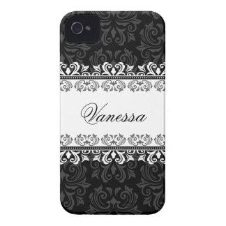 Black damask personalized BlackBerry Bold case