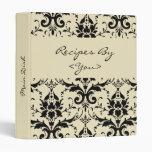 Black Damask Personalized Cook Book Recipe Binder