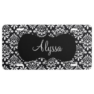 Black Damask Personalized License Plate