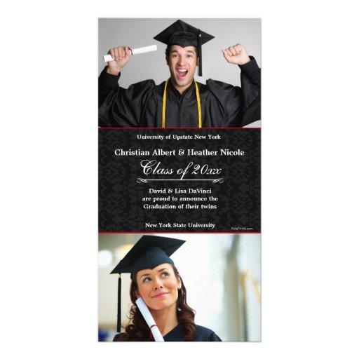 Black Damask Photo Graduation Card Photo Card