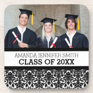 Black Damask Photo Graduation Coaster Set
