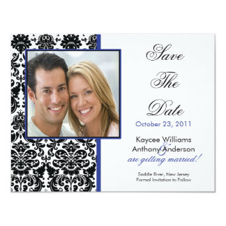 Black Damask Photo Save The Date Announcement