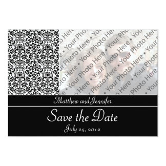 Black Damask Photo Save the Date Announcement Custom Invites
