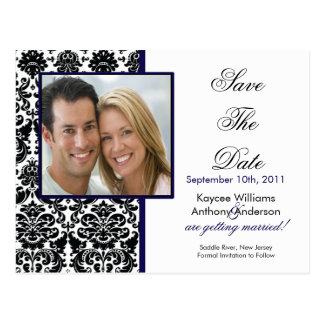 Black Damask Photo Save The Date POSTCARD!