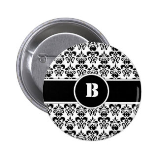Black Damask Pinback Button