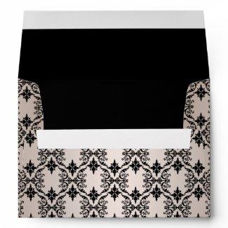 Black Damask Pink & Black Envelopes envelope