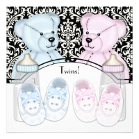 Black Damask Pink Blue Teddy Bear Twin Baby Shower Invitations