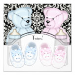 Black Damask Pink Blue Teddy Bear Twin Baby Shower 5.25x5.25 Square Paper Invitation Card