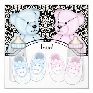"""Black Damask Pink Blue Teddy Bear Twin Baby Shower 5.25"""" Square Invitation Card"""