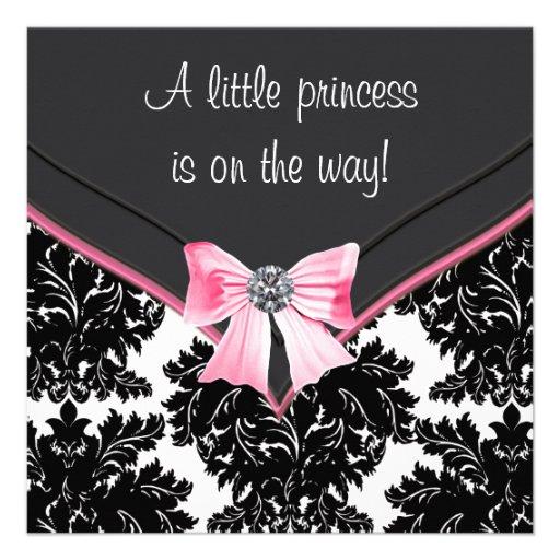 Black and white damask with elegant pink diamond trim bow baby girl