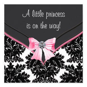 Pink and black baby shower invitations zazzle black damask pink bow princess baby shower invitation filmwisefo